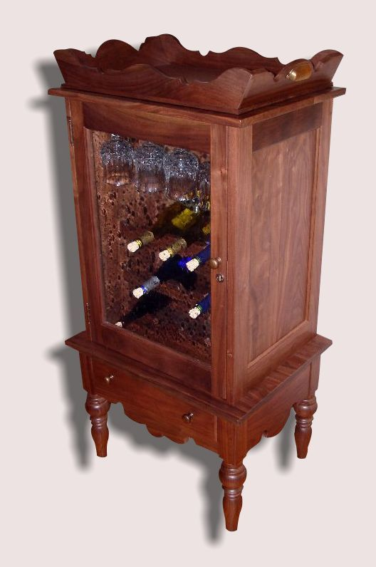 Reclaimed American Walnut Wine Cabinet with Removable Tray Top